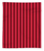 Crimson Red Striped Pattern Design Fleece Blanket
