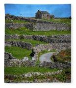 Criss-crossed Stone Walls Of Inisheer Fleece Blanket by James Truett