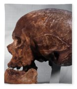 Cro-magnon Skull Fleece Blanket