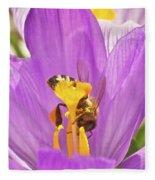 Crocus And The Bee Fleece Blanket