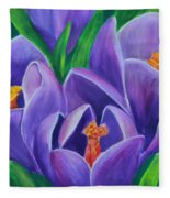 Crocus Flowers Fleece Blanket