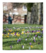 Crocuses At Hampton Court London Uk Fleece Blanket