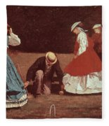 Croquet Scene Fleece Blanket