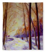 Cross Country Sking St. Agathe Quebec Fleece Blanket