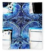 Cross In Blue Fleece Blanket