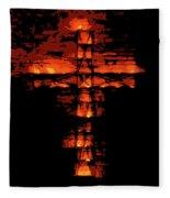 Cross On Fire Fleece Blanket