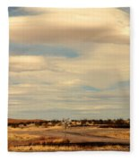 Cross Road In New Mexico Fleece Blanket