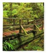 Crossing The Rainforest Ravine Fleece Blanket
