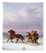 Crossing The Saint Lawrence From Levis To Quebec On A Sleigh Fleece Blanket
