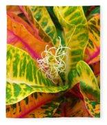 Croton Leaves Fleece Blanket