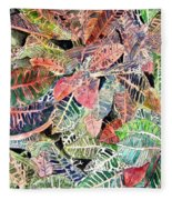 Croton Tropical Art Print Fleece Blanket