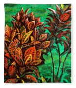 Crotons 5 Fleece Blanket
