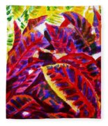 Crotons Sunlit 1 Fleece Blanket
