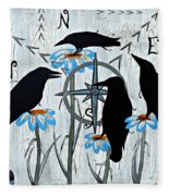 Crow Flowers Fleece Blanket