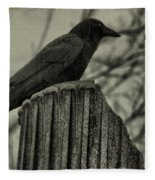 Crow Perched On A Old Column In Rain Fleece Blanket