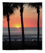 Crowd At Sunset Fleece Blanket