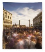 Crowded On St. Mark's Square Fleece Blanket