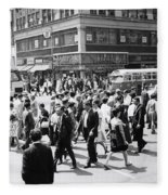 Crowded Street, Nyc, C.1960s Fleece Blanket