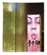 Crown Fountain At Millennium Park Fleece Blanket