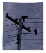 Crows And A Crescent Moon Fleece Blanket