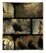 Crows And One Rabbit Fleece Blanket