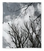 Crows In Cottonwoods Fleece Blanket