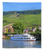 Cruise Boat, Rudesheim, Germany Fleece Blanket