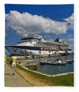 Cruise Ship In Bermuda Fleece Blanket