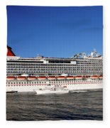 Cruise Ship Is Leaving The Port Fleece Blanket