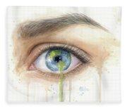 Earth In The Eye Crying Planet Fleece Blanket
