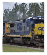 Csx 5955 Through Folkston Georgia Fleece Blanket