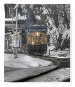 Csx Northbound At Mine Dock Road Highland Falls New York Fleece Blanket