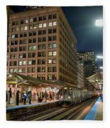 Cta Pulls Into The State-lake Street Station Chicago Illinois Fleece Blanket