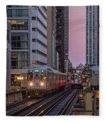 Cta Train On The L At Dusk Chicago Illinois Fleece Blanket