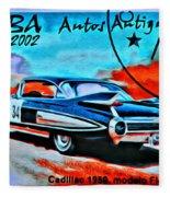 Cuba Antique Auto 1959 Fleetwood Fleece Blanket