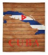 Cuba Rustic Map On Wood Fleece Blanket