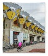 Cube Houses In Rotterdam Fleece Blanket