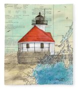 Cuckolds Lighthouse Me Nautical Chart Map Fleece Blanket