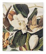 Cuckoo On Magnolia Grandiflora Fleece Blanket