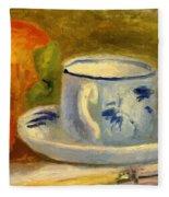 Cup And Oranges Fleece Blanket