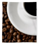 Cup Of Black Coffee On Coffee Beans Fleece Blanket