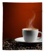 Cup Of Coffe Latte On Coffee Beans Fleece Blanket