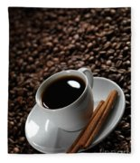 Cup Of Coffe On Coffee Beans Fleece Blanket