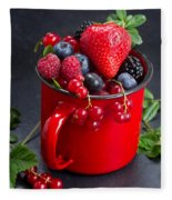 Cup Of Fresh Berries Fleece Blanket