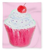 Cupcake Painting On Pink Background Fleece Blanket