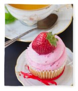Cupcake With Strawberry Fleece Blanket