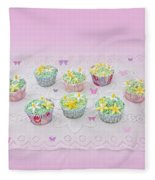 Cupcakes And Butterflies Fleece Blanket