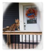 Curious Bengal Cat Fleece Blanket