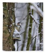 Curious White-backed Woodpecker Fleece Blanket