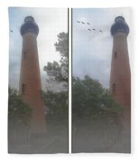 Currituck Beach Light Station - 3d Stereo Crossview Fleece Blanket